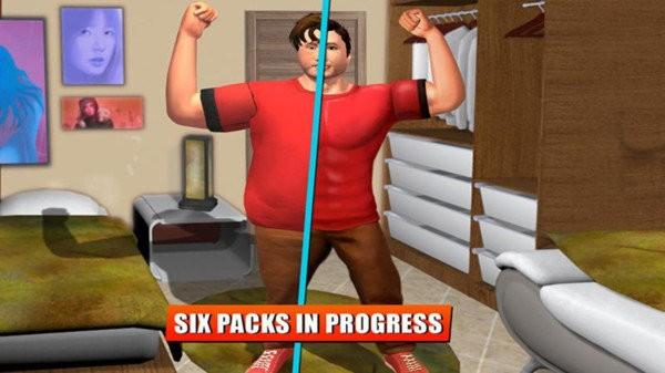 肥胖男孩在健身截图